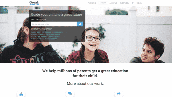 greatschools homepage