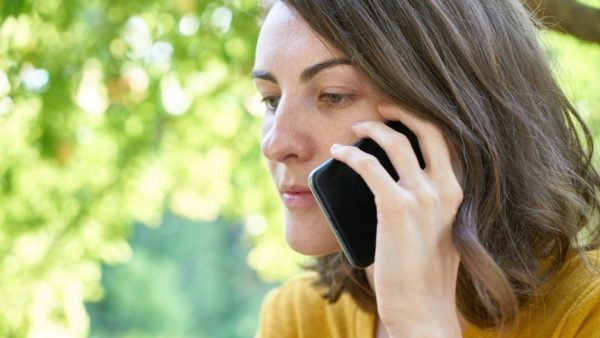 a woman chatting on the phone